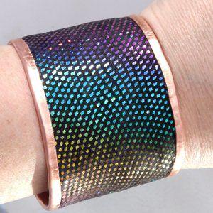Genuine Leather Glittery Pure Copper Cuff Bracelet
